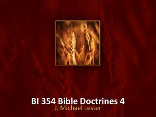 BI 354 Bible Doctrines 4