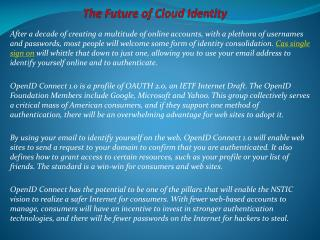 The Future of Cloud Identity