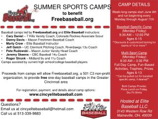 SUMMER SPORTS CAMPS to benefit Freebaseball