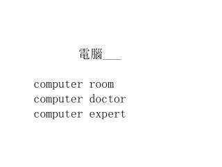 電腦 ___ computer room computer doctor computer expert