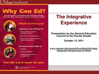 The Integrative Experience Presentation by the General Education Council to the Faculty Senate