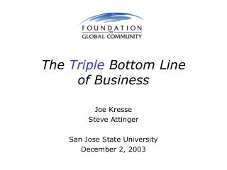 The  Triple  Bottom Line of Business