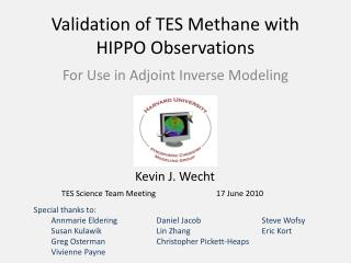 Validation of TES Methane with HIPPO Observations