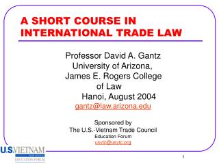 A SHORT COURSE IN INTERNATIONAL TRADE LAW