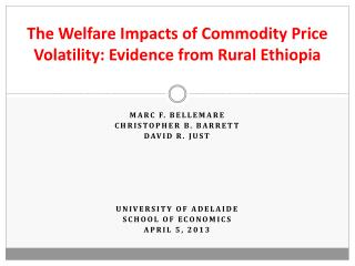 The  Welfare Impacts of Commodity Price Volatility: Evidence from  Rural Ethiopia