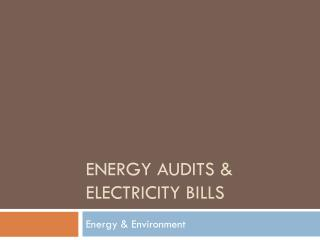 Energy Audits & Electricity Bills