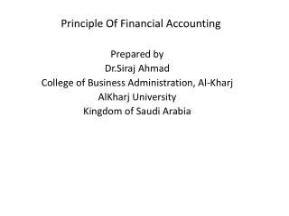 Principle Of Financial Accounting