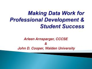Making Data Work for Professional Development & Student Success