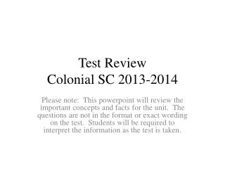 Test Review Colonial SC 2013-2014