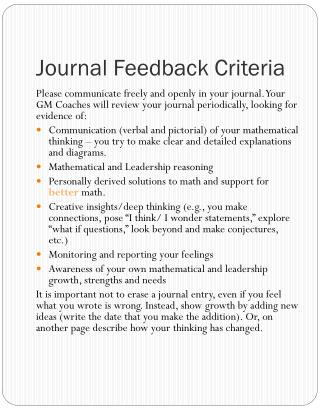 Journal Feedback Criteria