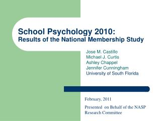 School Psychology 2010: Results of the National Membership Study