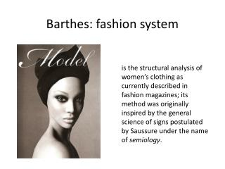 Barthes: fashion system