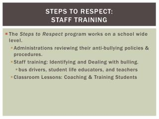Steps to Respect: Staff Training