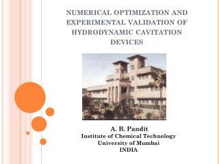 numerical optimization and experimental validation of hydrodynamic cavitation devices