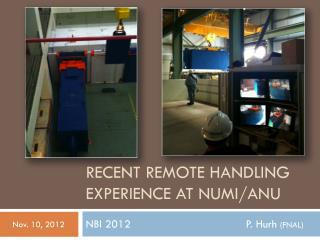 Recent Remote Handling Experience at NuMI/ANU