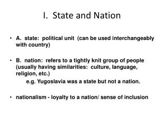 I.  State and Nation