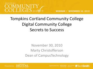 Tompkins Cortland Community College Digital Community College Secrets to Success