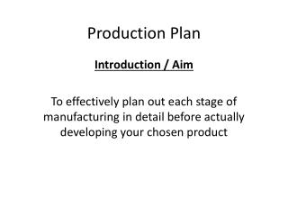 Production Plan