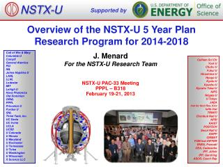 Overview of the NSTX-U 5 Year Plan  Research Program for 2014-2018