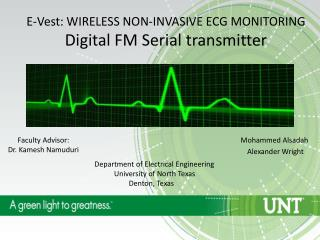E-Vest : WIRELESS NON-INVASIVE ECG MONITORING Digital FM Serial transmitter