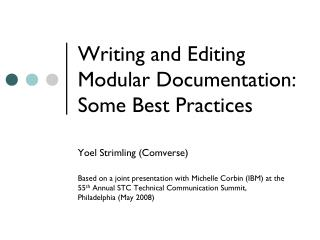 Writing and Editing Modular  Documentation:  Some Best Practices