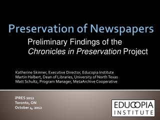 Preservation of Newspapers