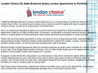 London Choice (R) Adds Britannia Suites London Apartments to