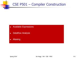 CSE P501 – Compiler Construction
