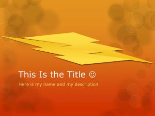 This Is the Title  