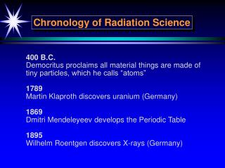 Chronology of Radiation Science