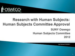 SUNY Oswego Human Subjects Committee 2012