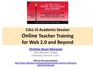 CALL-IS Academic Session Online  Teacher Training  for Web 2.0 and Beyond