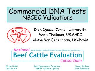 Commercial DNA Tests NBCEC Validations
