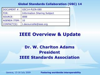 IEEE Overview & Update