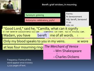 Bereft: grief-stricken; in mourning