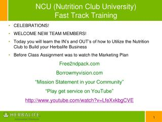 NCU  (Nutrition Club University ) Fast Track Training