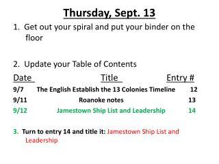 Thursday, Sept. 13
