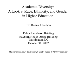 Academic Diversity: A Look at Race, Ethnicity, and Gender in Higher Education