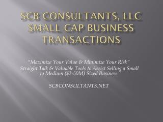SCB Consultants, LLC Small  Cap Business Transactions