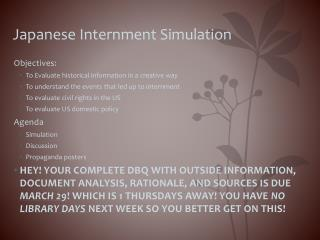Japanese Internment Simulation