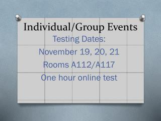 Individual/Group Events