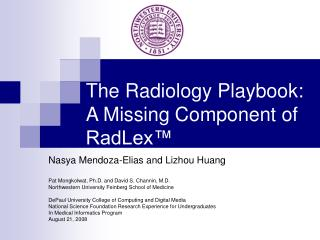 The Radiology Playbook: A Missing Component of RadLex™