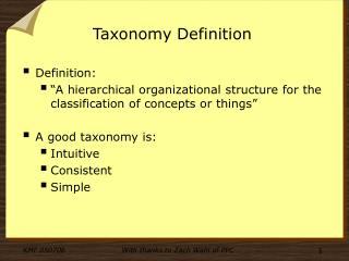 Taxonomy Definition