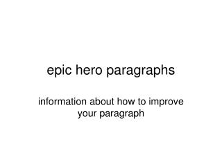 epic hero paragraphs