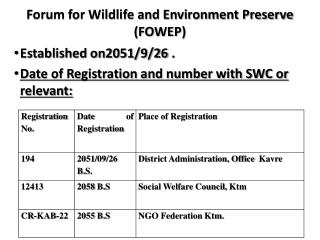 Forum for Wildlife and Environment Preserve (FOWEP)
