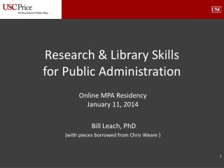 Research & Library Skills  for Public Administration