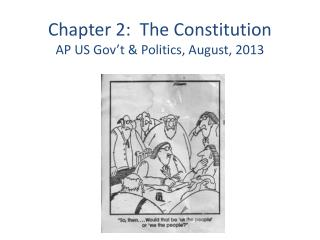 Chapter 2:  The Constitution  AP US Gov't & Politics, August, 2013