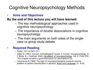Cognitive Neuropsychology Methods