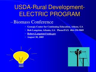 USDA-Rural Development- ELECTRIC PROGRAM
