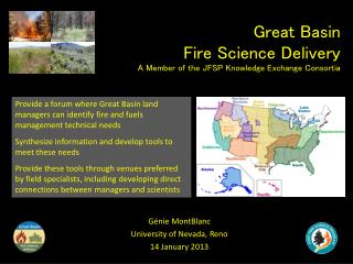 Great Basin  Fire Science Delivery  A Member of the JFSP Knowledge Exchange Consortia